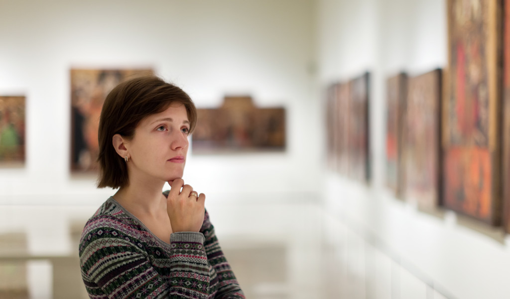 woman at an art gallery