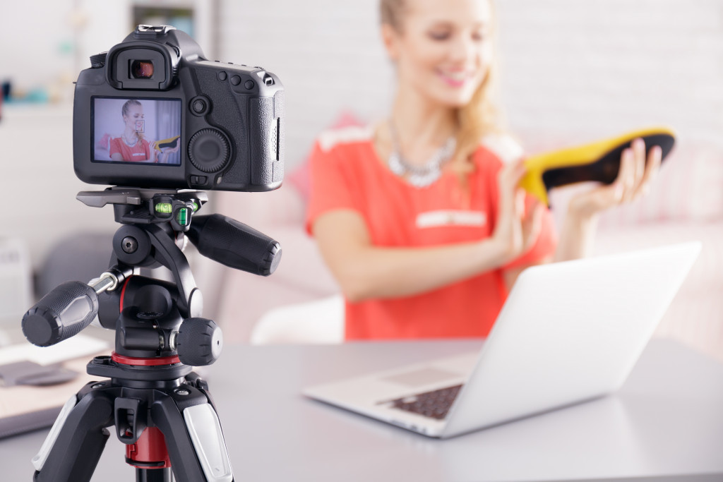 woman making a video ad